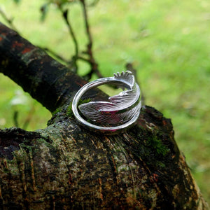 Earth Angel Feather Ring wrap around detailing handcrafted in sterling silver by Elena Brennan Jewellery.
