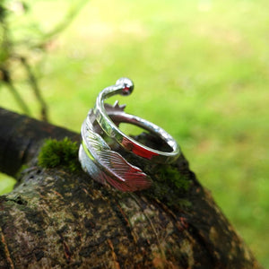 Detailing of the Earth Angel Feather Ring handcrafted by Irish Jewellery Designer Elena Brennan.