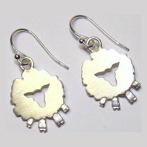 Front Face Sheep Drop Earrings handcrafted in sterling silver.