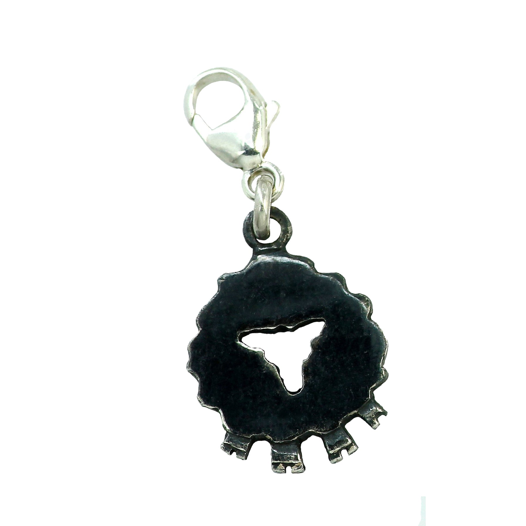 Black Front Face Sheep Charm full of life, handcrafted from sterling silver.