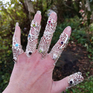 Gossamer Collection of statement rings on fingers handmade by Irish Jewellery Designer Elena Brennan.