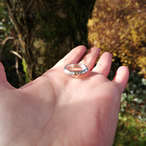A view of the sizing of the Grá Go Deo Love Forever Ring handmade in Ireland