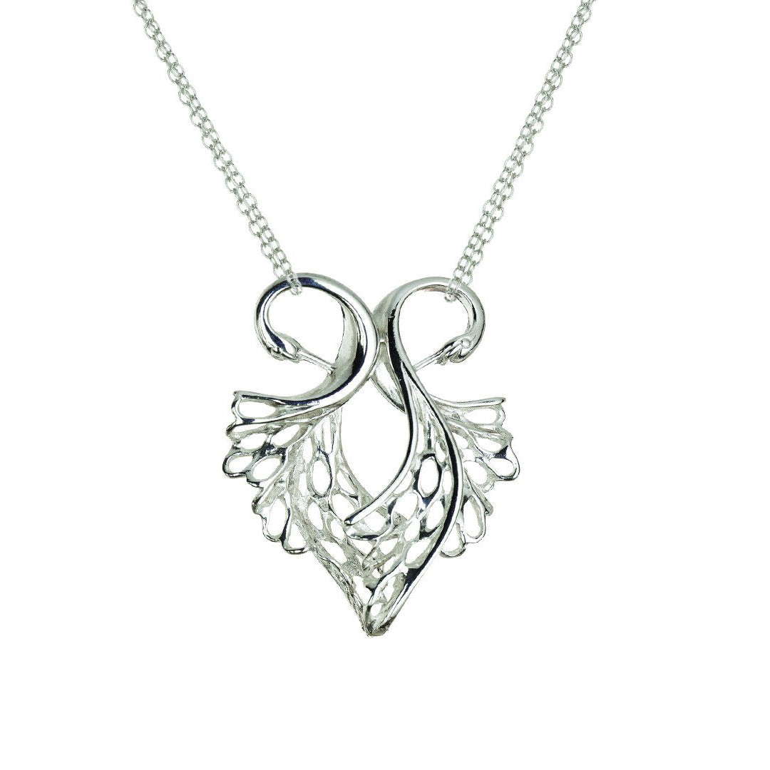 Children of Lir Heart Shaped Swan Pendant. Jewellery made from Sterling Silver.