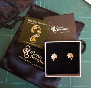 The Ireland Forever Stud Earrings with 14ct gold shamrocks at the centre ready to be sent to their forever home.