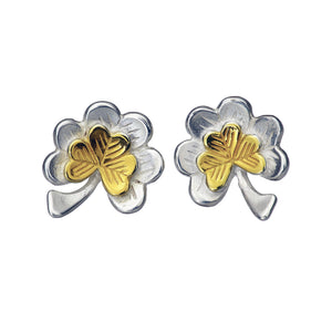 The Ireland Forever Stud Earrings with 14ct gold shamrocks, handmade jewellery by Elena Brennan.
