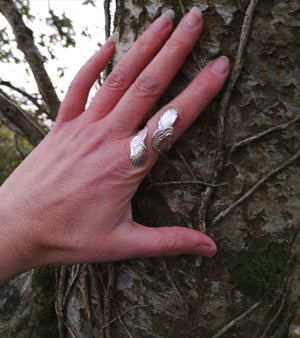 Curvy Angel wing ring handmade from sterling silver in Ireland by Elena Brennan Jewellery.