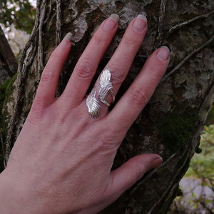 Curvy Angel wing ring made in Ireland by Elena Brennan Jewellery.