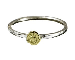 One Tiny Flower Stacking Ring in 9ct Gold.