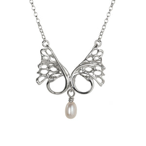 Children of Lir Double Swan Silver Pendant with Freshwater Pearl detail.