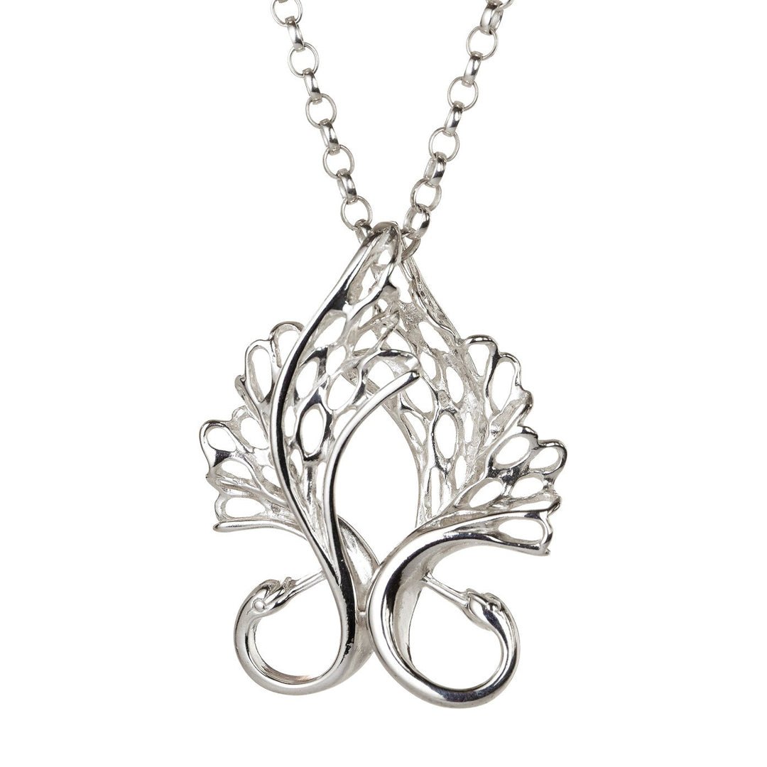 The Sterling Silver Two Swans Together Forever Pendant is a special piece of jewellery, symbolising true love.