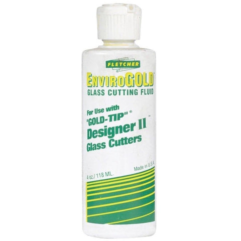 EnviroGOLD Glass Cutting Fluid. Use this lubricating glass cutting fluid with the Solid Brass Glass Cutter to optimize cutting performance.