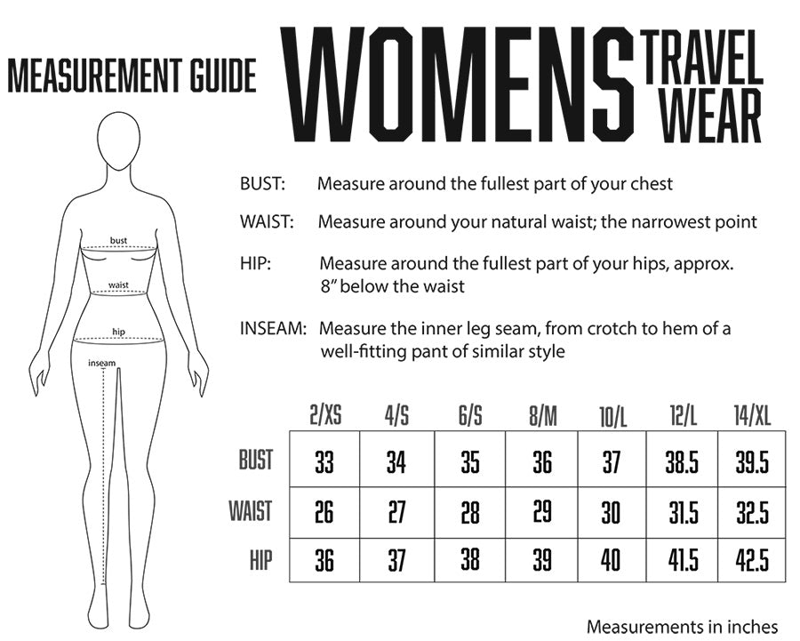 womens travel clothing size chart