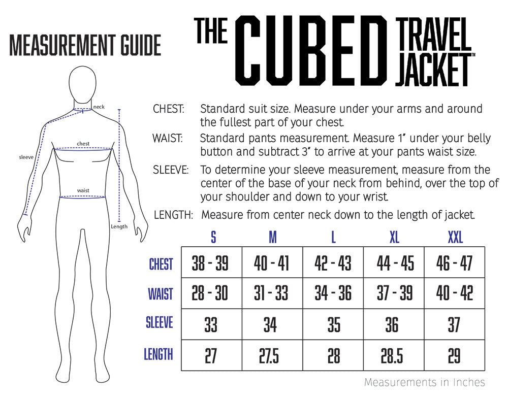 mens travel jacket size chart