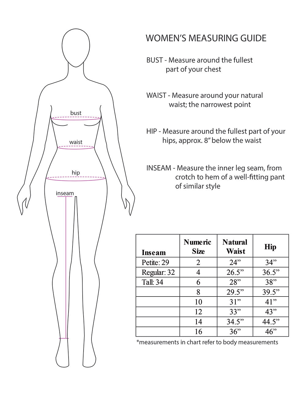 womens travel pants size chart