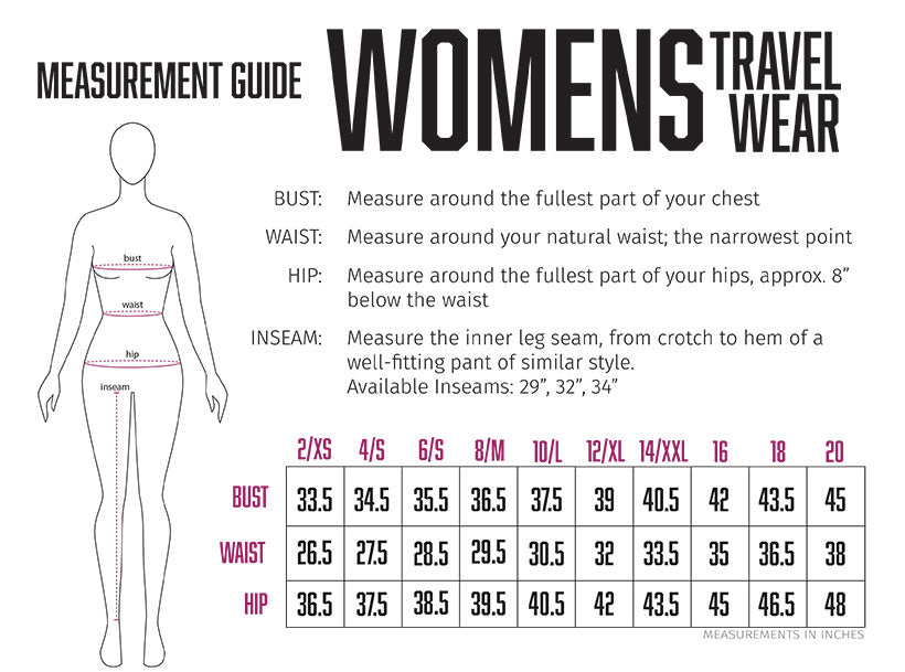 womens travel skirt / shirt size chart