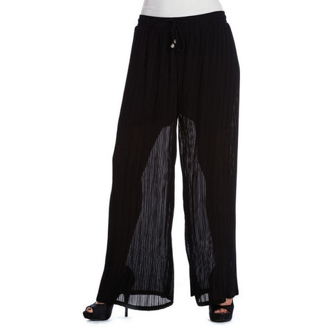 Sheer Pleated Palazzo Pants