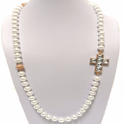 Long Pearl Necklace with Crystal Cross and Detachable Bracelet