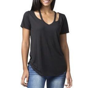 Open Shoulder V-Neck Top