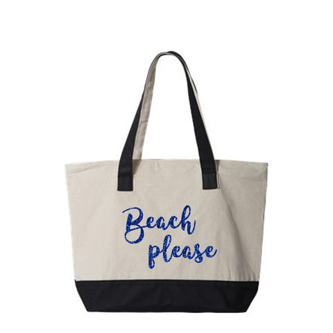 Beach Please Canvas Zippered Tote Bag