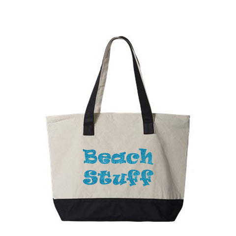 Beach Stuff Canvas Zippered Tote Bag