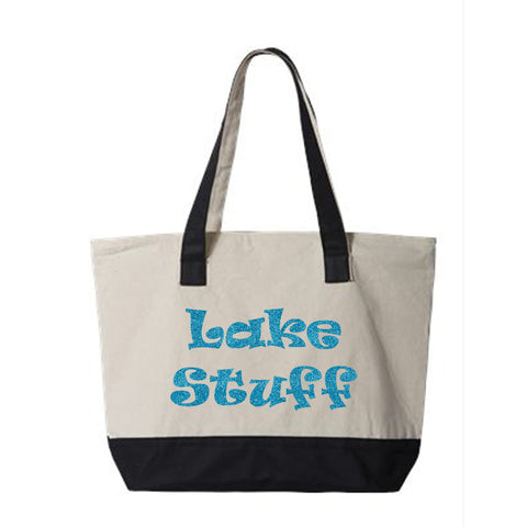 Lake Stuff Canvas Zippered Tote Bag