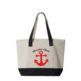Nauti Girl with Anchor Canvas Zippered Tote Bag