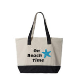 On Beach Time Canvas Zippered Tote Bag