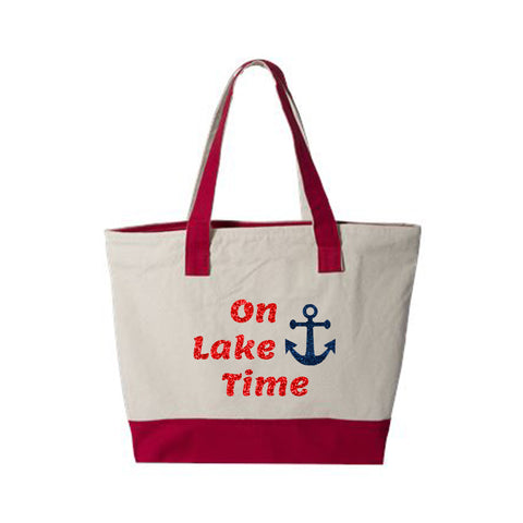 On Lake Time with Anchor Canvas Zippered Tote Bag