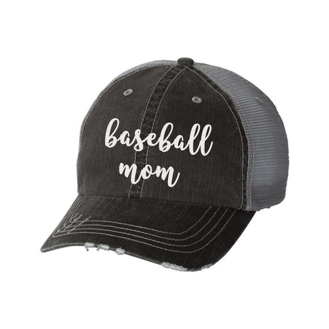 Baseball Mom Distressed Ladies Trucker Hat