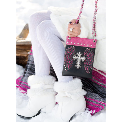 Cross with Wings Crossbody