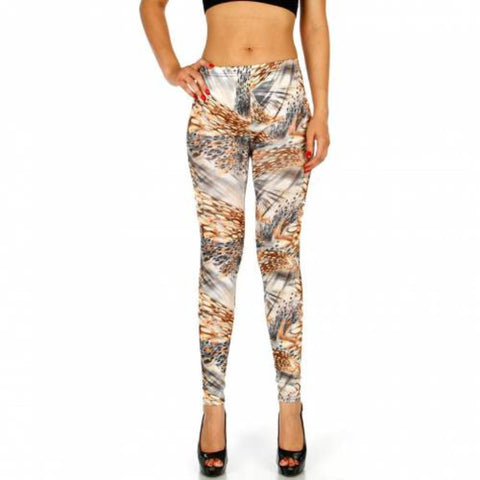 Abstract Feather Leggings