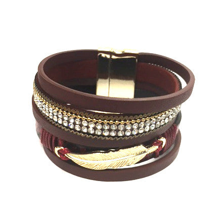 Feather & Crystal Leather Magnetic Bracelet