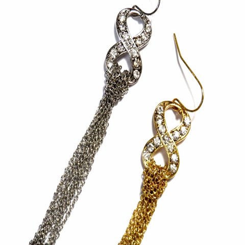 Crystal Infinity with Chain Earrings