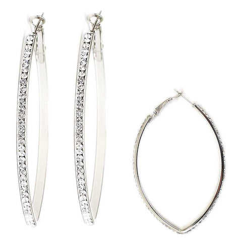 Marquise Shaped Crystal Hoop Earrings