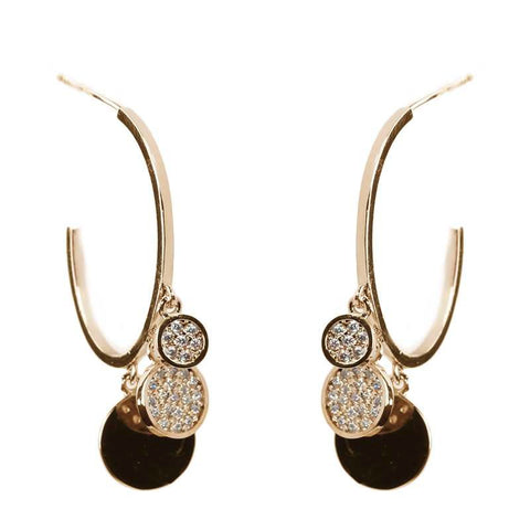 Pave Crystal Disc Hoop Earrings