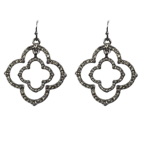 Double Clover Shaped Crystal Earrings