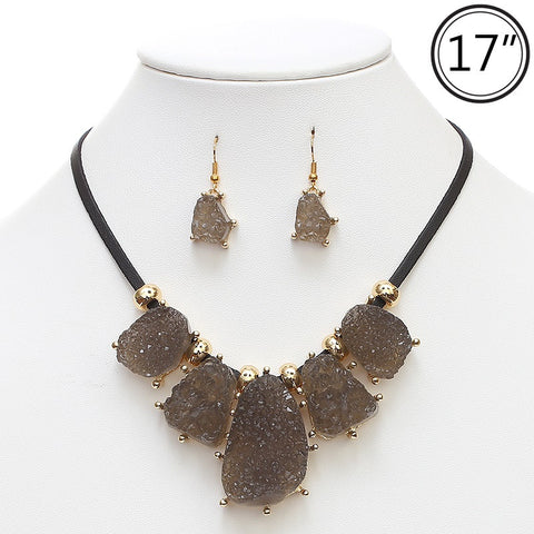 Corded Druzy Statement Necklace