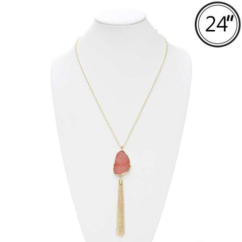 Long Chain with Druzy Pendant & Tassel