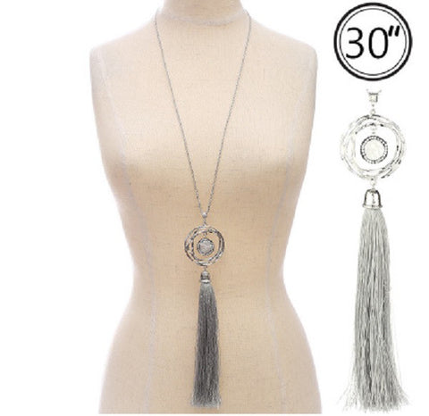 Circle with Tassel Necklace