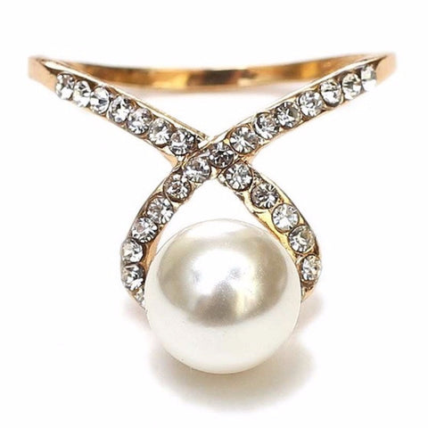 Single Pearl & Crystal Ring