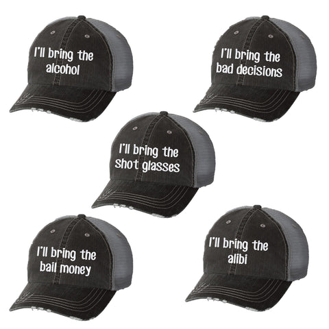 I'll Bring the Bad Decisions Distressed Ladies Trucker Hat