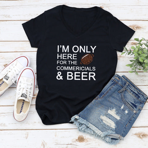 I'm Only Here For the Commercials & Beer Glitter Shirt