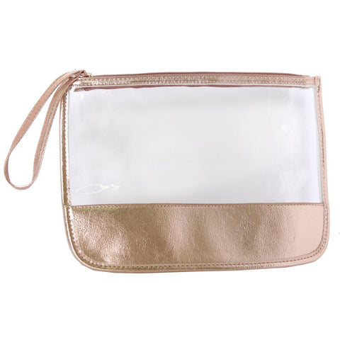 Clear Wristlet with Faux Leather Trim