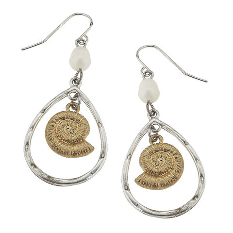 Teardrop Shape Nautilus Earrings