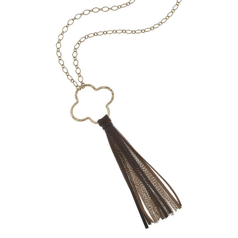 Long Clover Necklace with Tassel