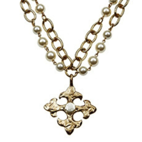 Large Square Cross Pearl Necklace