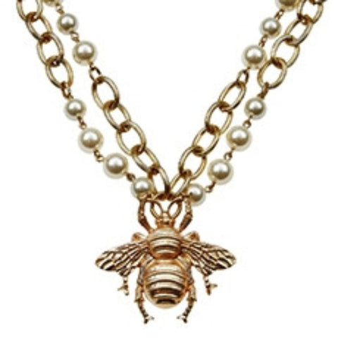 Large Bumble Bee Pearl Necklace