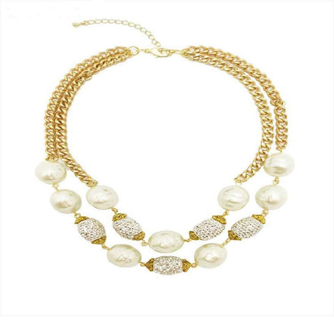 Two Row Pearl & Crystal Chain Necklace