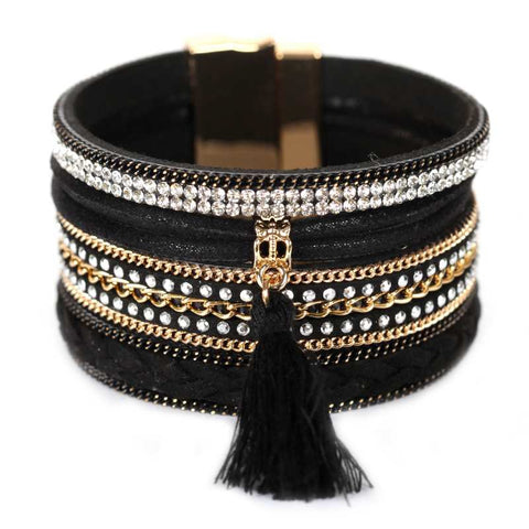 Crystal and Leather Magnetic Bracelet