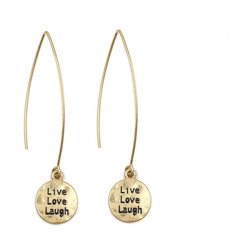Live Love Laugh on Long Wire Earrings